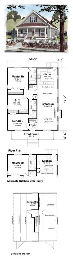 COOL House Plan ID: chp-27794 | Total Living Area: 1428 sq. ft., 3 bedrooms and 2 bathrooms. #bestselling
