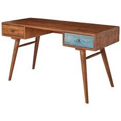 FineBuy FB51409 biurko z litego drewna mango o wymiarach 140 x 78 x 60 cm, w stylu shabby chic, designerski stolik pod komputer, drewniany, z szufladą, w stylu retro, z litego drewna: Amazon.de: Küche & Haushalt