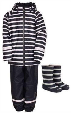 Kuling Shoes, Gummistøvler + Kuling Outdoor, Regnsett, Fleece, Navy/Stripe, Pakke