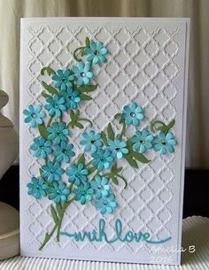 "ForgetMeNot - 'Project details:  White, blue and green cardstock Spellbinders Shapeabilities Expandable Patterns ""Fancy Lattice"" (S5-152) Spellbinders Die D'Lites ""Sentiments Three"" (S2-139) Marianne Design Creatables  (LR0151) Little Birdie Boutique Elements ""Jewelled Florettes Jamaican Sea (CR45816) Tim Holtz distress ink ""Broken China""'"