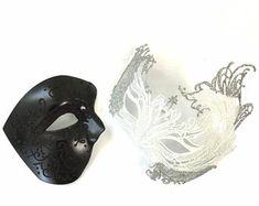 Masquerade Mask Women, Couples Masquerade Mask from USA by HigginsCreek Couples Masquerade Masks, Masquerade Ball, Lace Blindfold, 3d Printed Mask, Masquerade Invitations, Steampunk Goggles, Bridal Mask, Venetian Masks, Lace Ribbon
