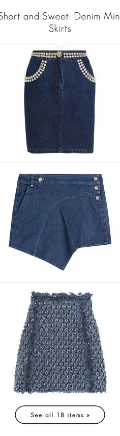 """""""Short and Sweet: Denim Mini Skirts"""" by polyvore-editorial ❤ liked on Polyvore featuring denimminiskirts, skirts, mini skirts, denim, bottoms, dark blue, miu miu skirt, blue denim mini skirt, denim miniskirt and short blue skirt"""