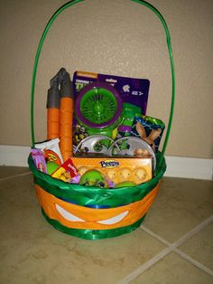 Teenage mutant ninja turtles easter basket by raeofsunbags on etsy ninja turtle easter basket negle Images