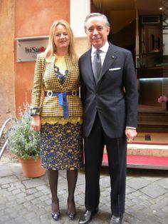 L'Ambasciatore Italiano a Londra Pasquale Terracciano e la consorte Mrs Karen Lawrence Terracciano (outfit Michele Miglionico Haute Couture) in occasione della visita ufficiale al Presidente della Repubblica Italiana Giorgio Napolitano di Sua Maestà Elisabetta II, Regina del Regno Unito di Gran Bretagna ed Irlanda del Nord, e Sua Altezza Reale il Principe Filippo, Duca di Edimburgo.