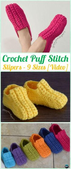 Crochet Women Slippers Free Patterns DIY Instructions - Women Slippers - Ideas of Women Slippers - Crochet Unisex Puff Stitch Slippers Free Pattern [ 9 Sizes ]- Crochet Women Slippers Free Patterns Crochet Boots, Crochet Slippers, Knit Or Crochet, Crochet Crafts, Crochet Clothes, Easy Crochet, Crochet Stitches, Crochet Projects, Women's Slippers