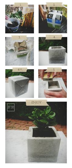 Concrete planter diy. This would be a good quick method for making larger planters.