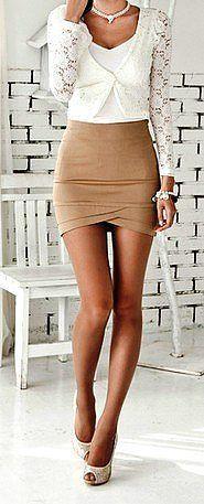 white lacey shirt + skirt♥