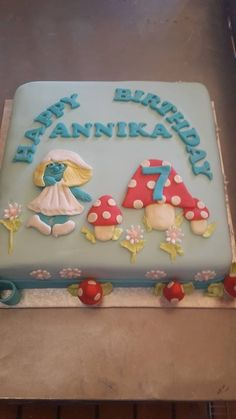 Smurf themed square birthday cake supplied by Altefyn Cakes