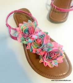 Easy DIY Floral Summer Sandals   My So Called Crafty Life.  This would be super fun to make matching Mommy/Daughter sandals!