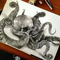 Octoskull drawing by Jamie Watson