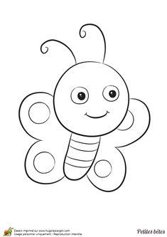 Un mignon petit papillon sur un dessin à colorier