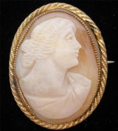 Hand Carved Shell Cameo Antique Brooch Gilded Estate Art Nouveau Pin Vintage | eBay