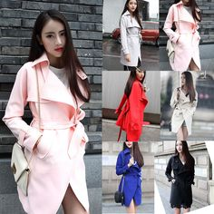 2015 New Women's Trench Slim Belt Long Jackets Coats Overcoat Outerwear Cardigan #New #Trench