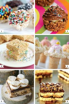 Rice Krispie Treat Ideas  ~  1. Dipping Pops 2. Cupcake 3. Ice Cream Sandwiches  4. Ice Cream Cones 5. S'mores 6. Peanut Butter Chocolate Pretzel