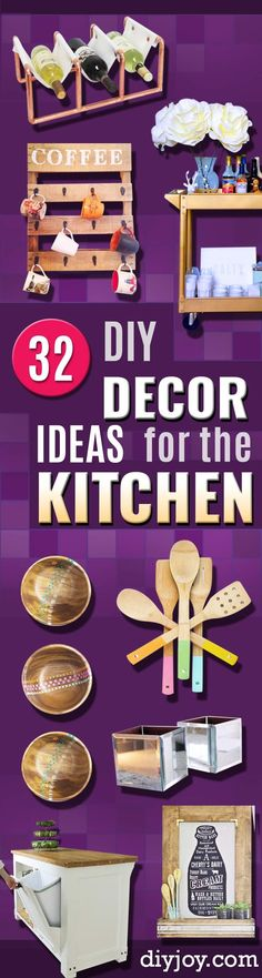 DIY Kitchen Decor Ideas - Creative Furniture Projects, Accessories, Countertop Ideas, Wall Art, Storage, Utensils, Towels and Rustic Furnishings http://diyjoy.com/diy-kitchen-decor-ideas