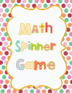 Math Spinner Review Game - great for test prep!