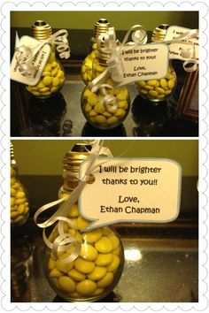 Found these light bulbs at the local craft store. I filled them with yellow candy and put a tag on them which says, I will be brighter thanks to you!! Simple and cute. Teacher gifts!