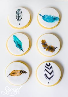 Feather Cookies by Alisha Henderson @ Sweet Bakes  www.facebook.com/sweetbakess