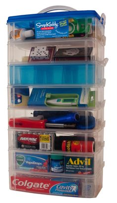60 college necessities organized into 8 interlocking containers. All of your dorm room supplies in one place.