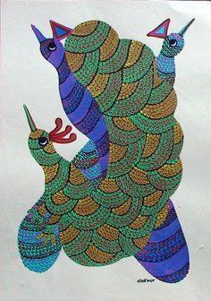 by Santoshi Kumar Size: @ Gond Painting, Tribal Community, Indian Folk Art, Tribal Art, Sketching, Storytelling, Birds, Paintings, Quilts