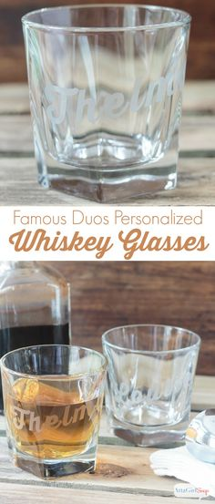 Atta Girl Says   Famous Duos Personalized Whiskey Glasses using DecoArt Easy Etch   #decoartprojects