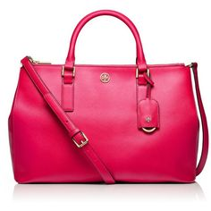Tory Burch Robinson Double Zip Tote (£265) ❤ liked on Polyvore featuring bags, handbags, tote bags, purses, bolsas, pink, new carnival, leather handbags, genuine leather tote bag and accessories handbags