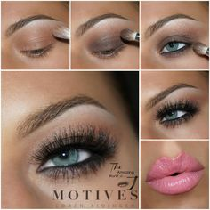 Step by step tutorial; Soft brown smoky eye with Pink lips. Great for everyday makeup look. #eye #makeup #eyeshadow @motivescosmetics