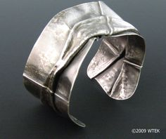 Cuff | Wendy Edsall-Kerwin.  'Fold Form'.  Oxidized sterling silver