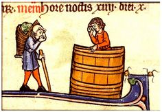 Making Wine.  Breviary detail. Cambray c. 1275-1300.