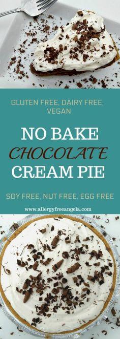 Easy, no bake chocolate cream pie, Top 8 allergy free and vegan, #glutenfree #dairyfree #vegan #chocolate #top8free #pie