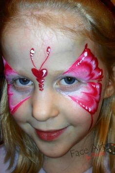 Beautiful butterfly face painting design. Great for Valentine's