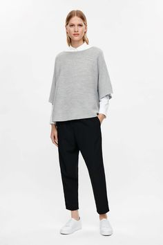 COS image 6 of Cropped oversized knit jumper in Light Grey