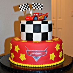 for bottom part of cake with race track around bottom toy story on top with clouds boys cakes pinterest race tracks lightning mcqueen cake and