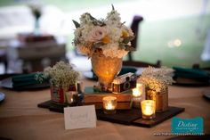 Beautiful Centerpiece Arrangements and Candles - Petite Fleur by The French Bouquet - Destiny Photography