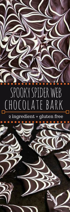 Spider web chocolate bark – a fast and easy Halloween treat that requires only two ingredients! #ad