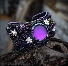 Beadwork jewelry-Beaded bracelet -Embroidered bracelet with Lunasoft cabochons by suzidesign on Etsy https://www.etsy.com/listing/217543841/beadwork-jewelry-beaded-bracelet