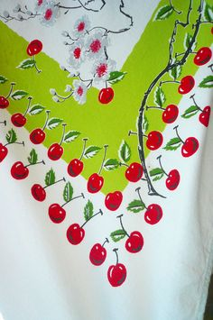 Vintage Cotton Tablecloth Lime Green & Red