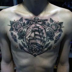 Top 75 Best Sailor Tattoos For Men - Classic Nautical Designs Full Chest Tattoos, Chest Tattoos For Women, Chest Piece Tattoos, Pieces Tattoo, Tattoo Sleeve Designs, Tattoo Designs Men, Sleeve Tattoos, Arm Tattoo, Sailor Jerry