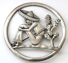 Comical Sterling Pin Man w'Sombrero & Cactus Truart