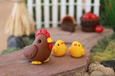 Polymer Chicken and Chicks Miniature Chicken Mini by GnomeWoods
