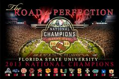Florida State Seminoles Football ROAD TO PERFECTION 2013 National Champions Commemorative Poster