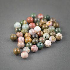 Lot de 10pcs - perles rondes • jaspe multicolore •  veines et inclusions • couleurs naturelles • 8mm