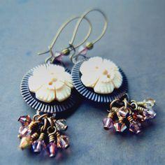 a3906e47f Galileo Figaro earrings: Vintaj brass, Swarovski crystal + handcarved bone  buttons Jewelry Making Beads