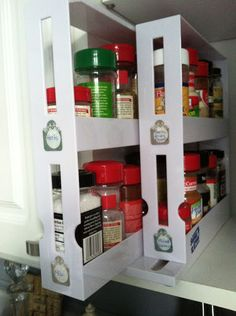 The pull-out spice rack from Bed, Bath Beyond with DIY labels organizes my cabinet and allows for a quick find of any spice when cooking.