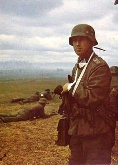 A wounded German officer on the Eastern Front, 1941. -