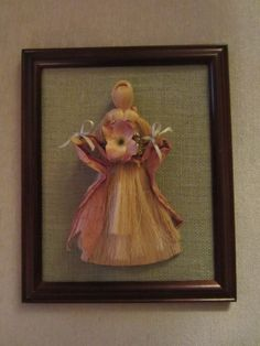Cornhusk doll on burlap picture I made