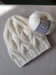 Winter Hat in creme with cables - knitting project by GRACE