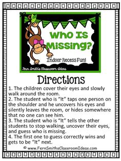 Recess ~ Who Is Missing Directions Fern Smith's Classroom Ideas ~ FREE Printable Indoor Recess ~ Who Is Missing Printable Directions Freebie.Fern Smith's Classroom Ideas ~ FREE Printable Indoor Recess ~ Who Is Missing Printable Directions Freebie. Classroom Activities, Activities For Kids, Classroom Ideas, Physical Activities, Motor Activities, Gym Games For Kids, Indoor Games For Kids, Kid Games, Indoor Activities