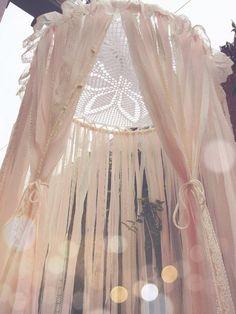 Big Shabby Chic Boho Gypsy Lace Crochet Doily Cream & Light Pink Dreamcatcher Canopy // Baby Nursery Decor // Home/Bedroom Decor // Wedding by Unicorns4Evaa