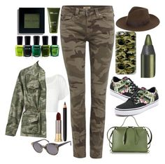 """""""Camp Camo"""" by mayblooms ❤ liked on Polyvore featuring True Religion, L.L.Bean, Vans, Jil Sander, Yves Saint Laurent, Casetify, Illesteva, Zoya, Bobbi Brown Cosmetics and INIKA"""